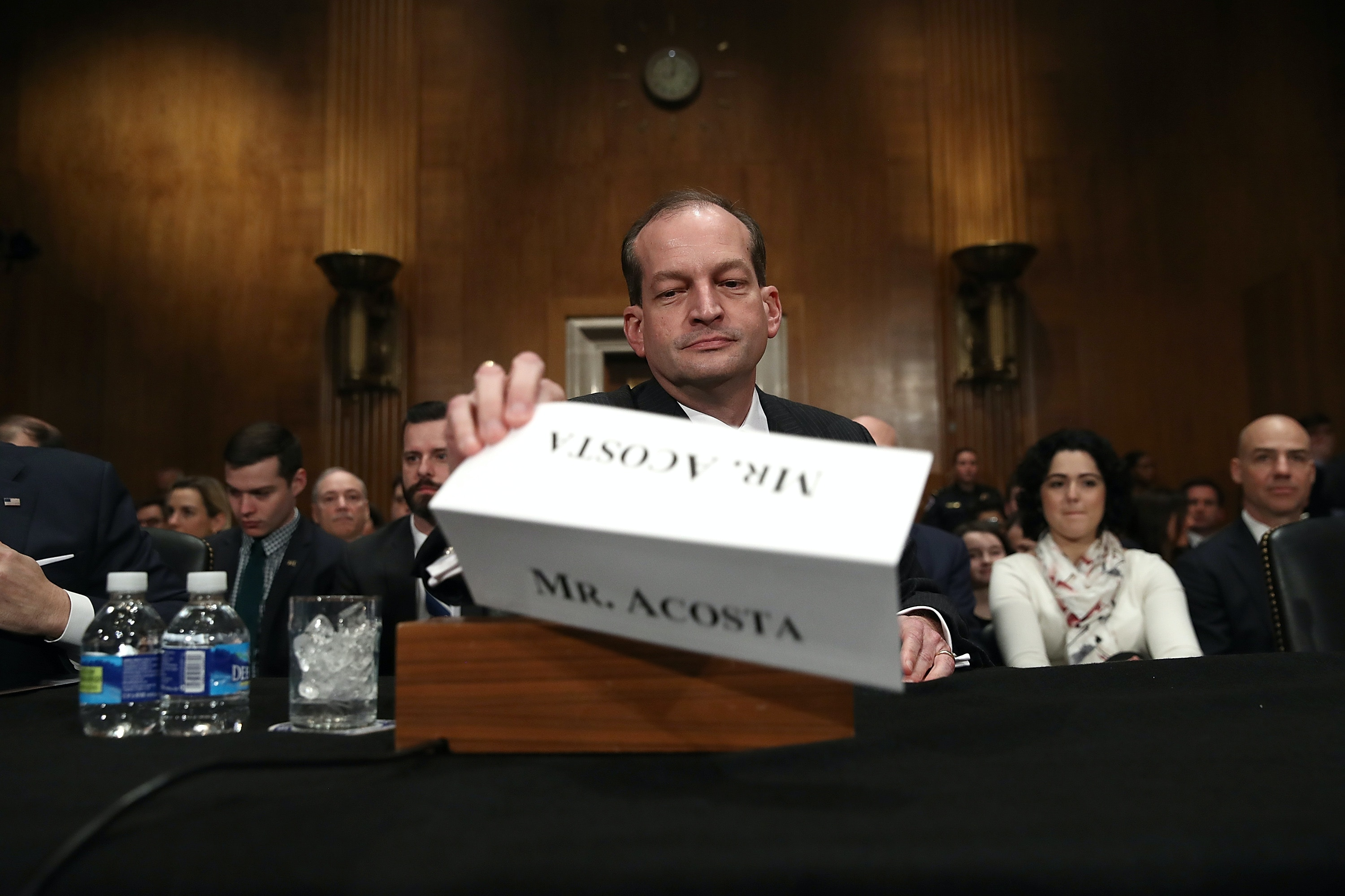 WASHINGTON, DC - MARCH 22:  Labor Secretary nominee Alexander Acosta arrives for testiony before the Senate Health, Education, Labor and Pensions Committee during his confirmation hearing March 22, 2017 in Washington, DC. Acosta was questioned by members of the committee on his opinions relating to overtime rules during the early portion of the hearing.  (Photo by Win McNamee/Getty Images)