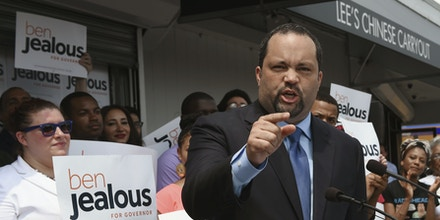 Ben Jealous, 44, former president and CEO of the NAACP, announces his bid to be the Democratic party's nominee to challenge Republican Gov. Larry Hogan, Wednesday, May 31, 2017, in West Baltimore. (Kenneth K. Lam/The Baltimore Sun via AP)