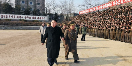 This undated picture released from North Korea's official Korean Central News Agency (KCNA) on January 12, 2014 shows North Korean leader Kim Jong-Un (front L) inspecting the command of Korean People's Army (KPA) Unit 534.    AFP PHOTO / KCNA via KNS    REPUBLIC OF KOREA OUT   THIS PICTURE WAS MADE AVAILABLE BY A THIRD PARTY. AFP CAN NOT INDEPENDENTLY VERIFY THE AUTHENTICITY, LOCATION, DATE AND CONTENT OF THIS IMAGE. THIS PHOTO IS DISTRIBUTED EXACTLY AS RECEIVED BY AFP    ---EDITORS NOTE--- RESTRICTED TO EDITORIAL USE - MANDATORY CREDIT