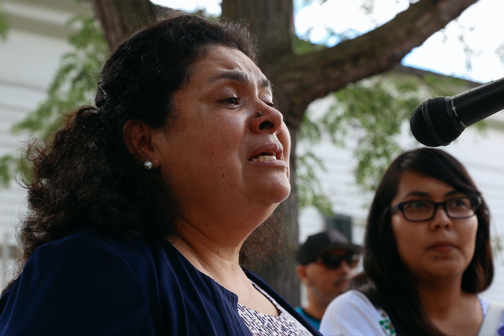 Lourdes Salazar-Bautista of Ann Arbor speaks at a press conference on ICE policies in Michigan and for an update on the Sava's raid in Liberty Plaza on Saturday, July 8, 2017. Photo: Hunter Dyke/The Ann Arbor News