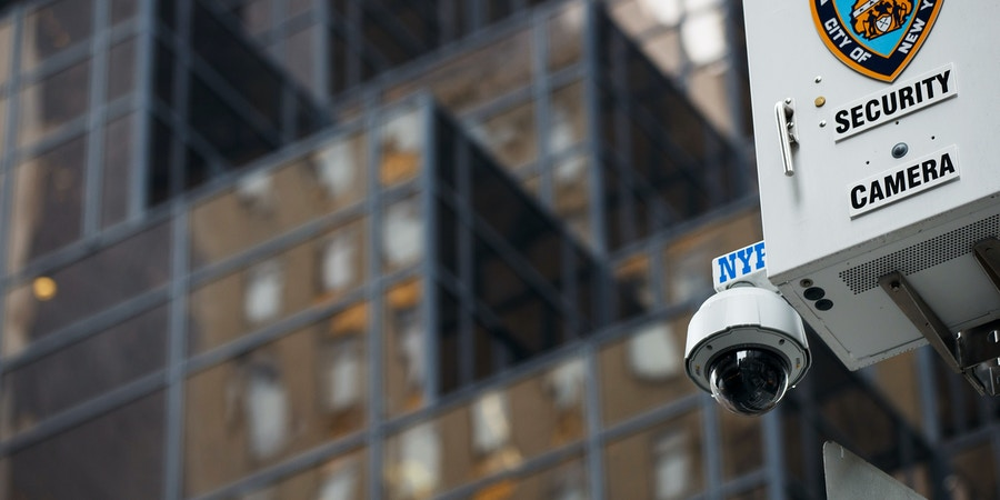 NEW YORK, NY - MARCH 7: A New York City Police Department (NYPD) security camera hangs atop a light pole across the street from Trump Tower, March 7, 2017 in New York City. In a series of tweets on Saturday morning, President Donald Trump accused former President Barack Obama of ordering wiretapping at Trump Tower during the run up to the election. (Photo by Drew Angerer/Getty Images)