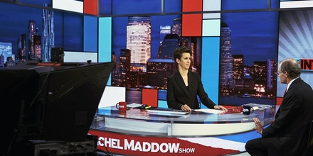 FILE -- Rachel Maddow on set for her news show on MSNBC in New York, March 9, 2017. Buoyed by a surge of interest in news and the channel's stable of reliably liberal anchors like Rachel Maddow, MSNBC is number one again in primetime cable news. Its primetime viewership on weeknights in the critical 25-to-54 age demographic has grown an astounding 118 percent from a year ago. (An Rong Xu/The New York Times)