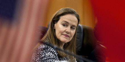 U.S. Defense Undersecretary Michele Flournoy, prepares for a bilateral meeting with Gen. Ma Xiaotian, the People's Liberation Army's deputy chief of staff, at the Bayi Building in Beijing, China, Wednesday, Dec. 7, 2011. Chinese and U.S. defense officials met in Beijing on Wednesday for their highest-level contacts since recent frictions over arms sales to Taiwan and plans to strengthen the American military presence in the Pacific. (AP Photo/Andy Wong, Pool)