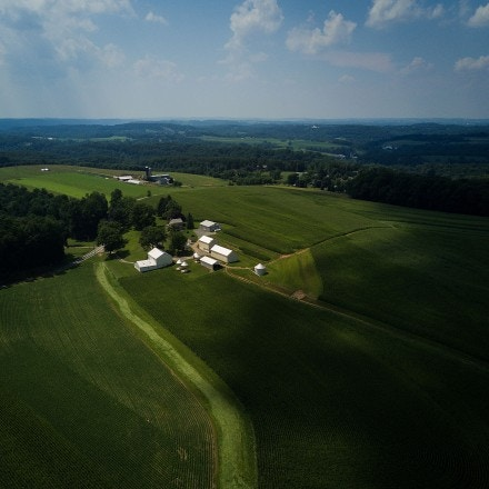 Dark shadows approach a farm that lies in the path of the proposed Atlantic Sunrise natural gas pipeline near Buck, Pennsylvania, July 17, 2017.