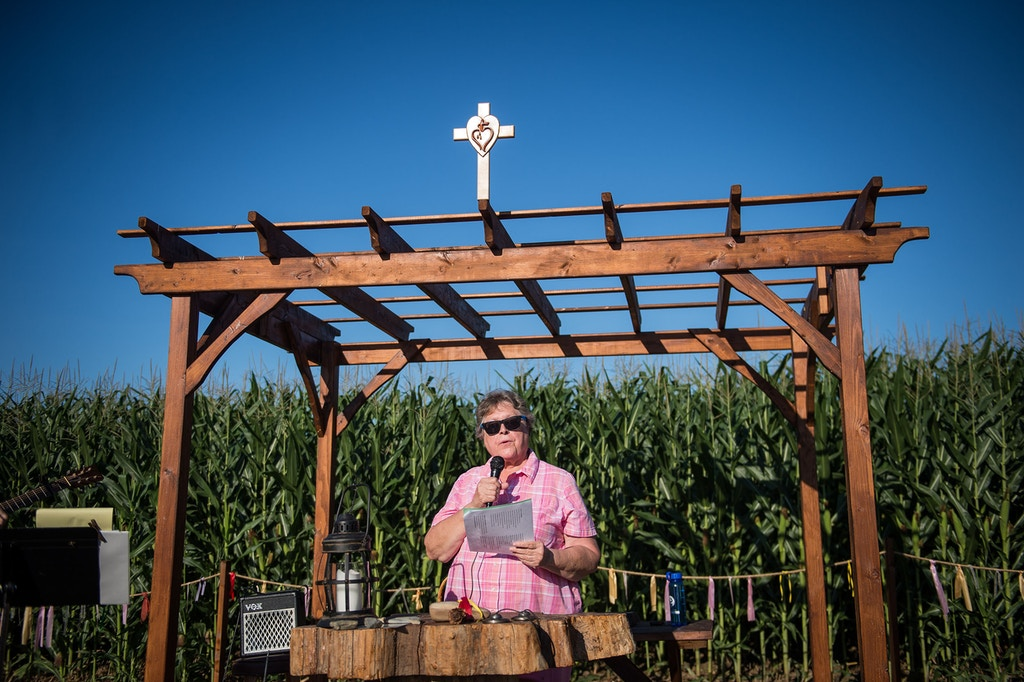 Sister Bernice Klostermann reads a prayer during a service at the small chapel built in the path of the proposed Atlantic Sunrise natural gas pipeline by The Adorers of the Blood of Christ, a group of Catholic nuns that support environmental justice, in Columbia, Pennsylvania, July 30, 2017.