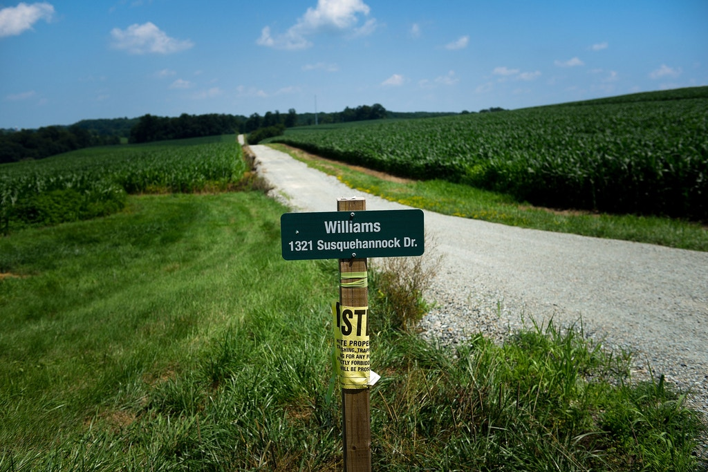 A sign demarcating Williams-owned land at the southern terminus of the planned Atlantic Sunrise natural gas pipeline near Buck, Pennsylvania, July 17, 2017.