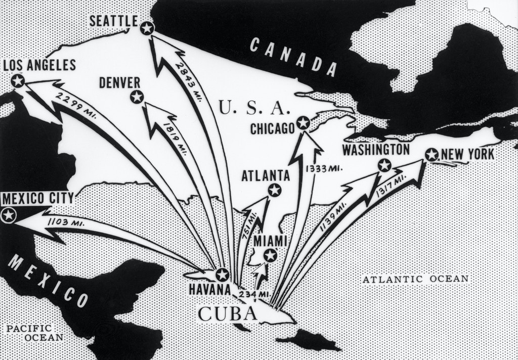 This newspaper map from the time of the Cuban Missile Crisis shows the distances from Cuba of various cities on the North American Continent.