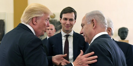 JERUSALEM, ISRAEL - MAY 22:  (ISRAEL OUT) In this handout photo provided by the Israel Government Press Office (GPO), US President Donald J Trump (L) and White House senior adviser Jared Kushner meet with Israel Prime Minister Benjamin Netanyahu (R) at the King David Hotel May 22, 2017 in Jerusalem, Israel. Trump arrived for a 28-hour visit to Israel and the Palestinian Authority areas on his first foreign trip since taking office in January.  (Photo by Kobi Gideon/GPO via Getty Images)