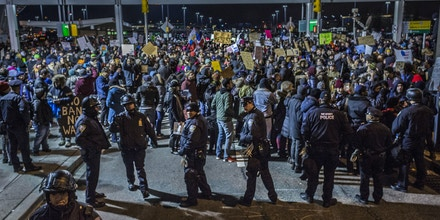 JOHN F  KENNEDY INTERNATIONAL AIRPORT, NEW YORK CITY, NEW YORK, UNITED STATES - 2017/01/28: For over 8 hours  thousands flooded into Terminal 4 at New York's John F. Kennedy International Airport, at times shutting down the hub while protesting Donald Trump's executive order banning Muslims from certain countries from travelling to the U.S. Around 8 p.m. that evening, the federal court for the Eastern District of New York issued an emergency stay halting the ban. (Photo by Michael Nigro/Pacific Press/LightRocket via Getty Images)