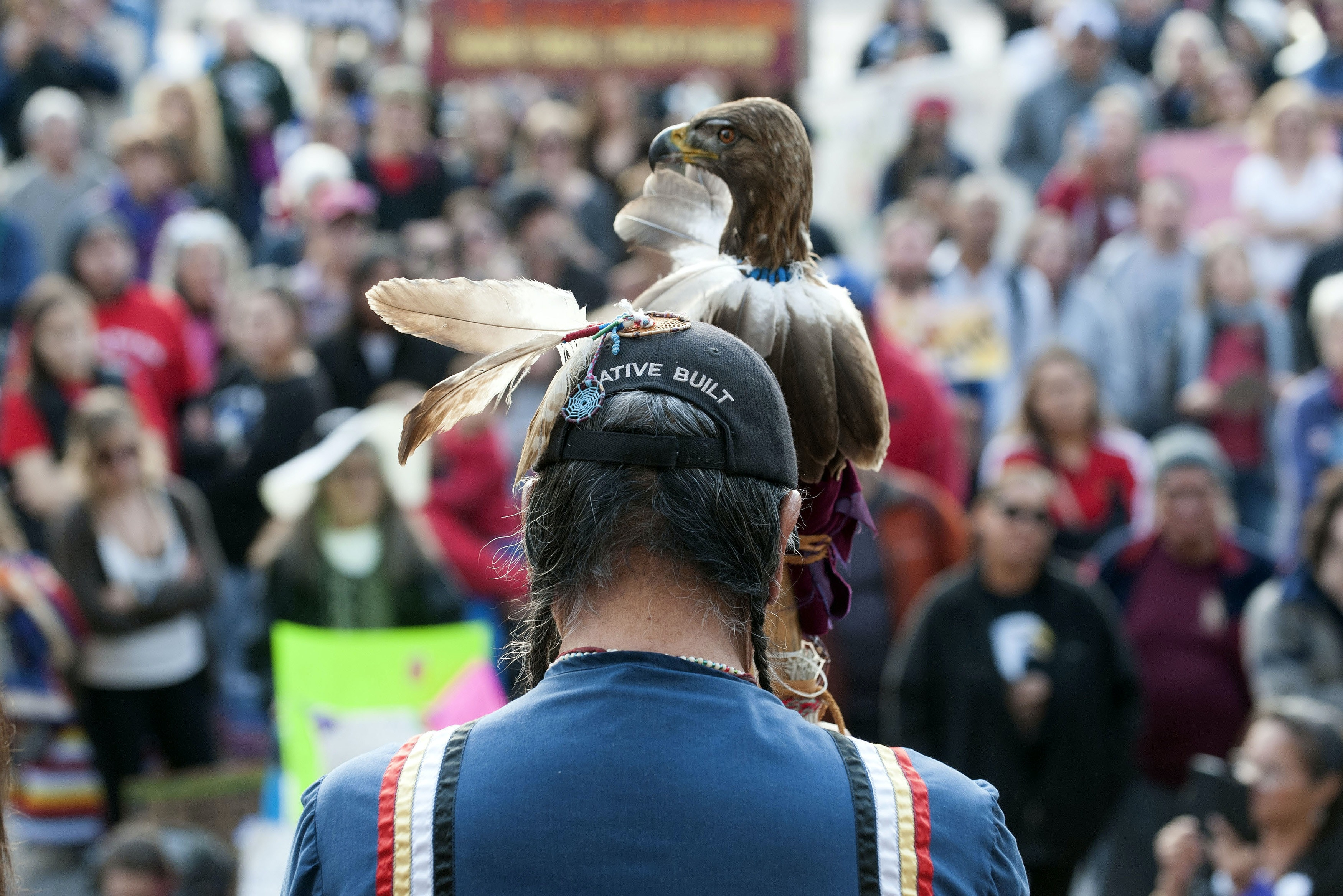 Robert Cross Crocked Eyes of the Lakota Nation addresses indigenous rights activists gathered at the Colorado State Capital during the Native Nations March in Denver, Colorado on March 10, 2017.Native tribes from around the US gathered for four days of protest against the administration of US President Donald Trump and the Dakota Access oil pipeline. In the first week of his presidency, Donald Trump signed executive orders to revive the Dakota Access project, along with a second pipeline put on hold by the Obama administration, Keystone XL. / AFP PHOTO / Jason Connolly (Photo credit should read JASON CONNOLLY/AFP/Getty Images)