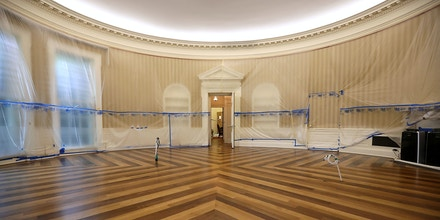 WASHINGTON, DC - AUGUST 11:  The Oval Office sits empty and the walls covered with plastic sheeting during renovation work at the White House August 11, 2017 in Washington, DC. The Government Services Administration is overseeing the rennovation work during the two week project to update and repair the working area of the White House, including a replacement of the 27-year-old White House heating, ventilation and air conditioning systems.  (Photo by Chip Somodevilla/Getty Images)