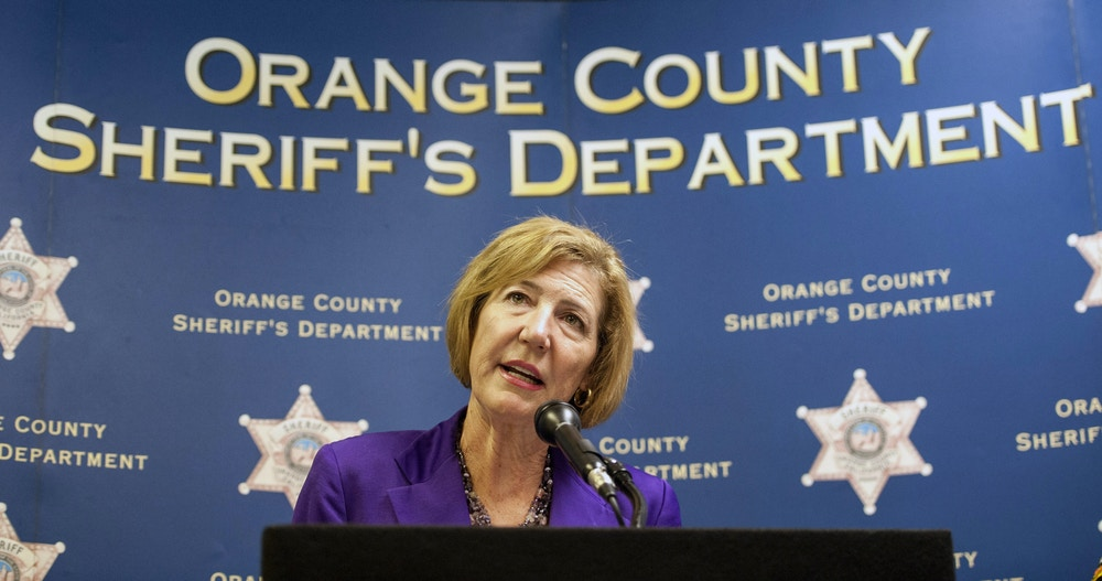 Orange County Sheriff Sandra Hutchens speaks during a news conference at Orange County Sheriff's Department headquarters in Santa Ana, Calif., Wednesday, June 28, 2017. Hutchens announced Tuesday that she's retiring and endorsing Undersheriff Don Barnes to take over the 3,800-member department. (Kyusung Gong/The Orange County Register via AP)