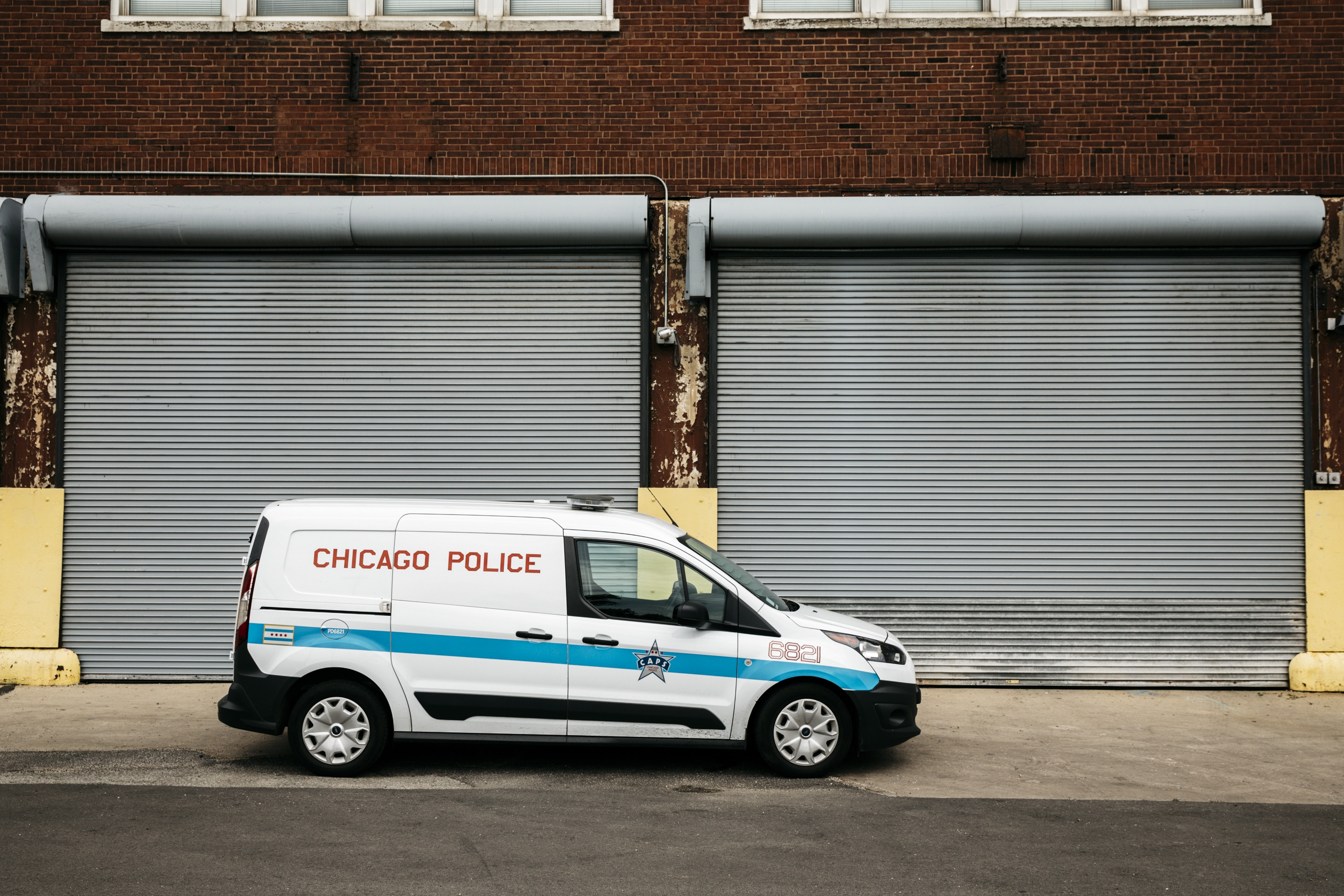 Chicago, IL - July 13, 2017 - A Chicago Police Department vehicle parked in front of the Special Operations Center at 3393 W Fillmore.