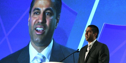 LAS VEGAS, NV - APRIL 25:  Federal Communications Commission Chairman Ajit Pai speaks during the 2017 NAB Show at the Las Vegas Convention Center on April 25, 2017 in Las Vegas, Nevada. NAB Show, the trade show of the National Association of Broadcasters and the world's largest electronic media show, runs through April 27 and features more than 1,700 exhibitors and 103,000 attendees.  (Photo by Ethan Miller/Getty Images)