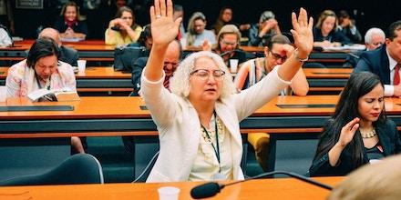 BRASÍLIA, DF, 05.04.2017: CONGRESSO-CULTO - Bancada evangélica realiza culto evangélico na Câmara dos Deputados em Brasília. (Foto: Anna Virginia Balloussier/Folhapress)