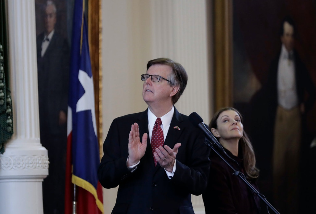 Lt. Gov. Dan Patrick presides over the Texas Senate Chamber at the Texas Capitol, Tuesday, Feb. 7, 2017, in Austin, Texas. The Senate is expected to debate an anti-sanctuary cities proposal. (AP Photo/Eric Gay)