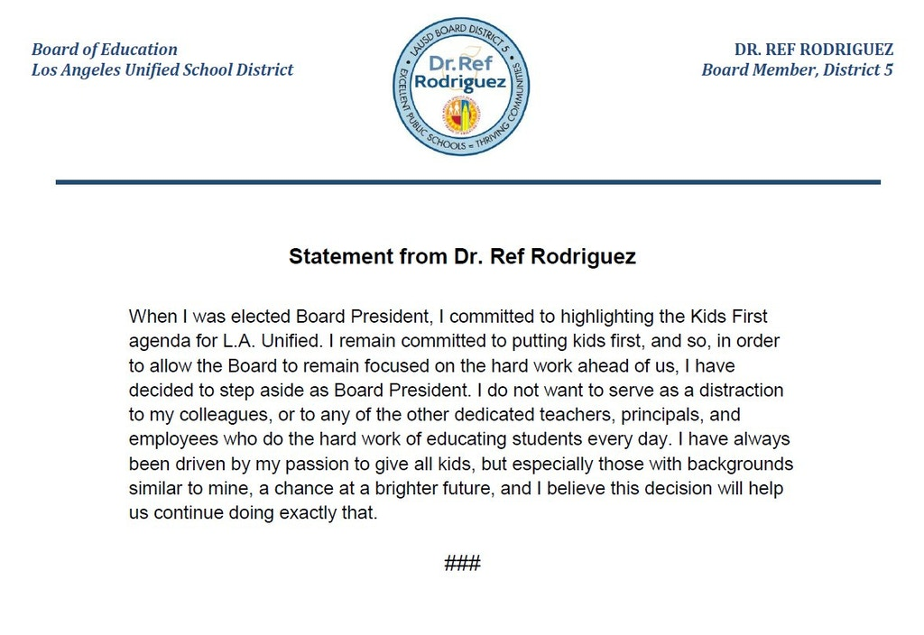 Ref Rodriguez's announcement to step down as Board President posted on Twitter.