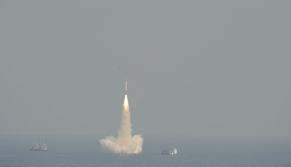 India tested its medium range Submarine Launched Ballistic Missile system, it was launched from a secret location in the Bay of Bengal from a depth of 50 meters. This nuclear capable missile will now be deployed on INS Arihant, India's locally made N-powered submarine. India became the fifth nation to have this potent technology by which it can stealthily hide its nuclear weapons deep in the ocean and strike at will. India calls these Weapons of Peace. It is an intelligent missile (Photo by Pallava Bagla/Corbis via Getty Images)