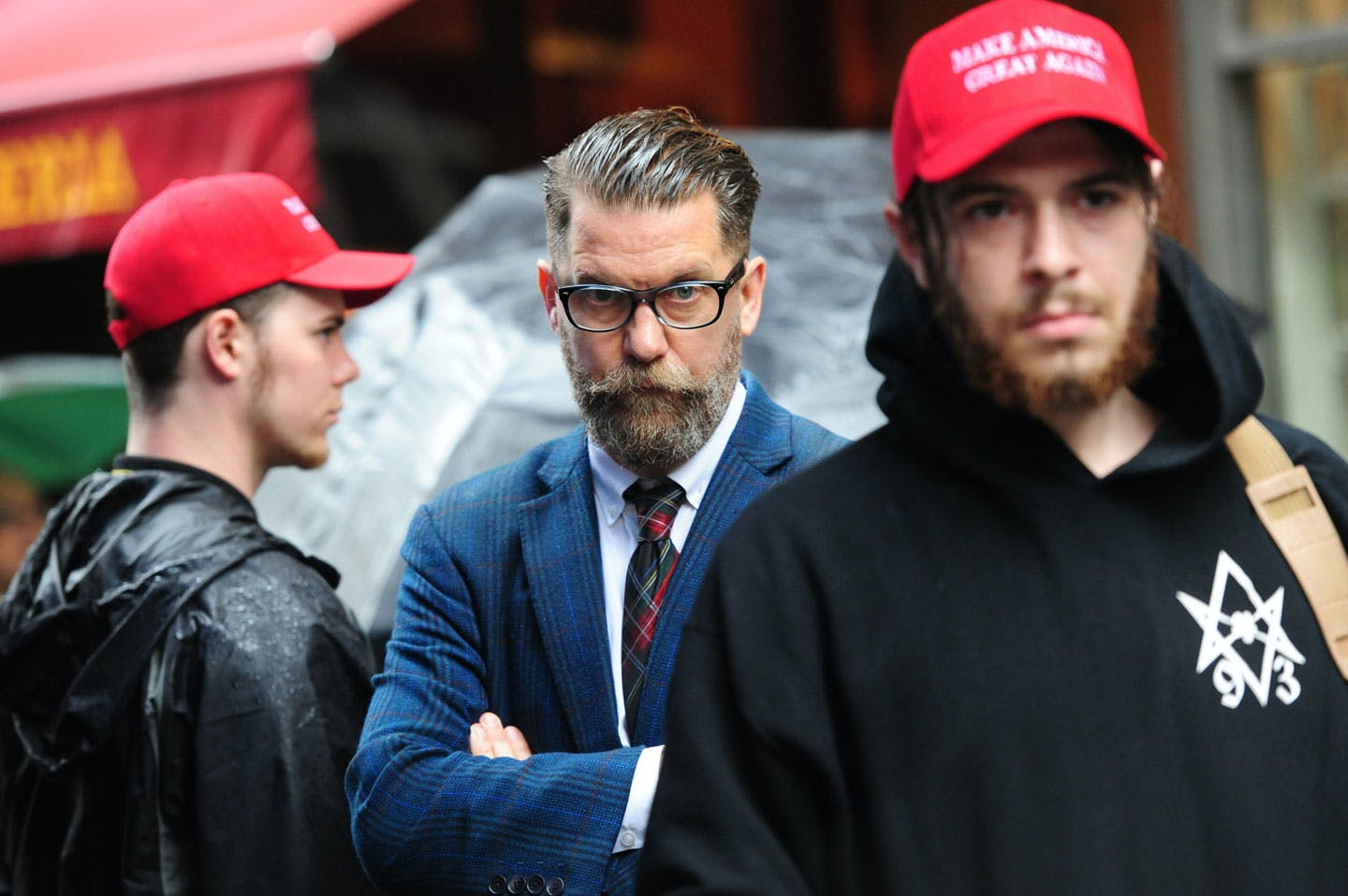 CENTER Gavin McInnes attends rally - Alt-right protestors hold rally in front of CUNY on East 42nd St. and 3rd ave to protest against CUNY's choice of Muslim-American activist Linda Sarsour as commencement speaker on Thursday May 25, 2017 (Photo by Susan Watts/NY Daily News via Getty Images)