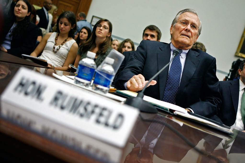 "WASHINGTON - AUGUST 01:  Former Secretary of Defense Donald Rumsfeld testifies before the House Oversight and Government Reform Committee about the combat fratricide of NFL star and US Army Ranger Pat Tillman on Capitol Hill August 1, 2007 in Washington, DC. The hearing was titled ""The Tillman Fratricide: What the Leadership of the Defense Department Knew."" Tillman's family was originally told that he was killed by the enemy during combat in Afghanistan. It was later revealed that he was killed in a ""friendly-fire"" accident by his fellow Rangers.  (Photo by Chip Somodevilla/Getty Images)"