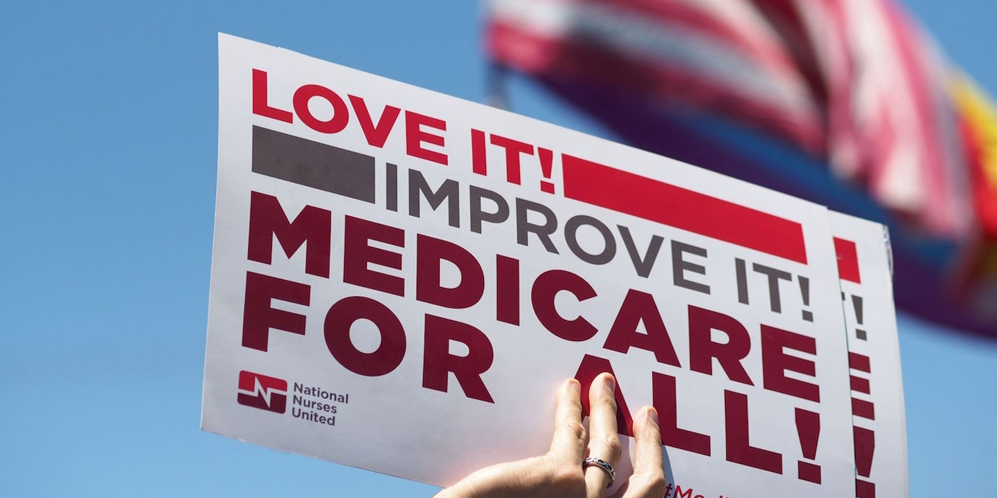 People rally in favor of single-payer healthcare for all Californians as  the US Senate