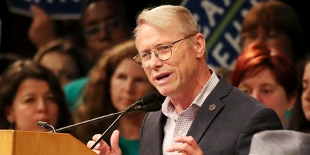 July 8, 2017 - Minneapolis, MN, US - Minneapolis mayoral candidate Rep. Raymond Dehn, DFL-Minneapolis, left, spoke to delegates at the Minneapolis DFL convention Saturday, July 8, 2017, at the Minneapolis Convention Center in Minneapolis, MN.]......DAVID JOLES • david.joles@startribune.com......The Minneapolis DFL holds its convention Saturday in hopes of endorsing a candidate for mayor. (Credit Image: © David Joles/Minneapolis Star Tribune via ZUMA Wire)