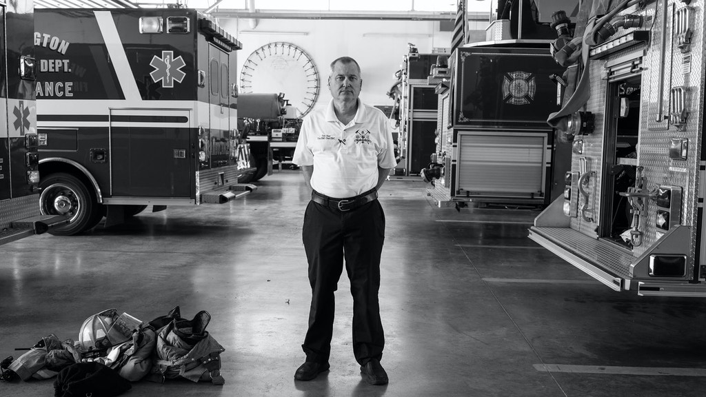 Tim Hay, the Fire Chief for the city of Wellington, stands in the emergency response bay. If the hospital in Wellington closes, Chief Hay will be forced to hire more people for EMS, since the nearest hospital is in Wichita which would add more than 40 minutes to each emergency response. The annual cost of expanding emergency services would be $875,000, which would see the city raise taxes even more in order to support it. Wellington, KS. July 17, 2017.
