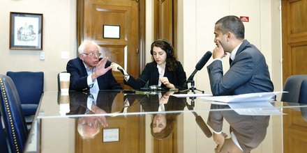 Washington, D.C. - September 20, 2017: U.S. Senator Bernie Sanders, left, is interviewed by Mehdi Hasan, right, about his foreign policy views in his office at the Dirksen Senate Building in Washington D.C. Wednesday, Sept. 20, 2017. Sound engineer Rachael London, middle, records the interview.CREDIT: Matt Roth for the Intercept