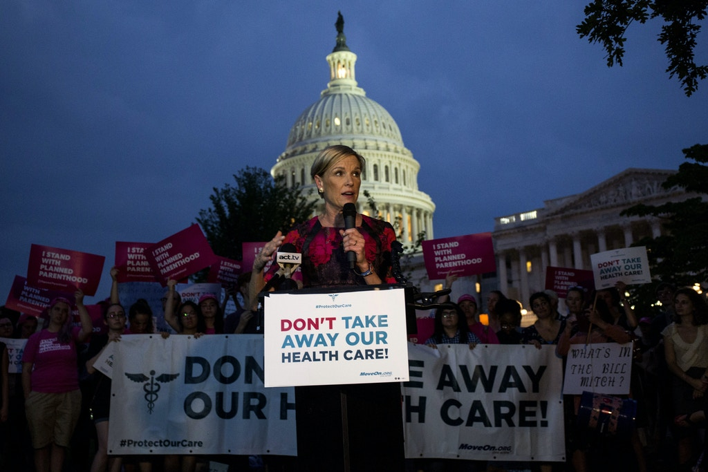 "WASHINGTON, DC - JULY 27: Planned Parenthood President Cecile Richards speaks during a rally outside of the Capitol Building on July 27, 2017 in Washington, DC. Senate Republicans are working to pass a stripped-down, or ""skinny repeal"" version of Obamacare reform, with elimination of the individual and employer mandates and the tax on medical devices being considered.  (Photo by Zach Gibson/Getty Images)"