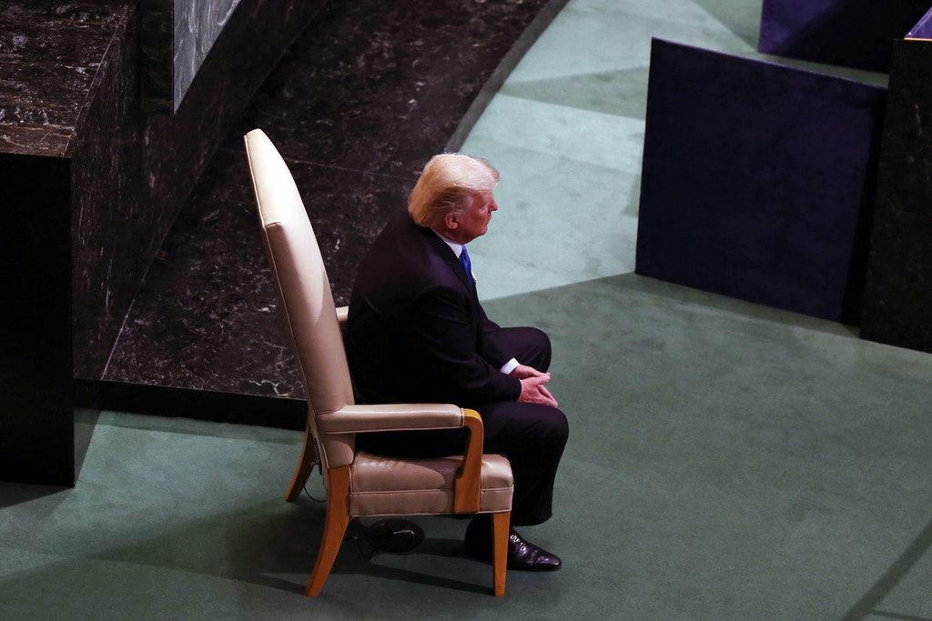 NEW YORK, USA - SEPTEMBER 19 : US President Donald Trump waits after making a speech during the 72nd session of the UN General Assembly at the UN Headquarters in New York, United States on September 19, 2017. (Photo by Mohammed Elshamy/Anadolu Agency/Getty Images)
