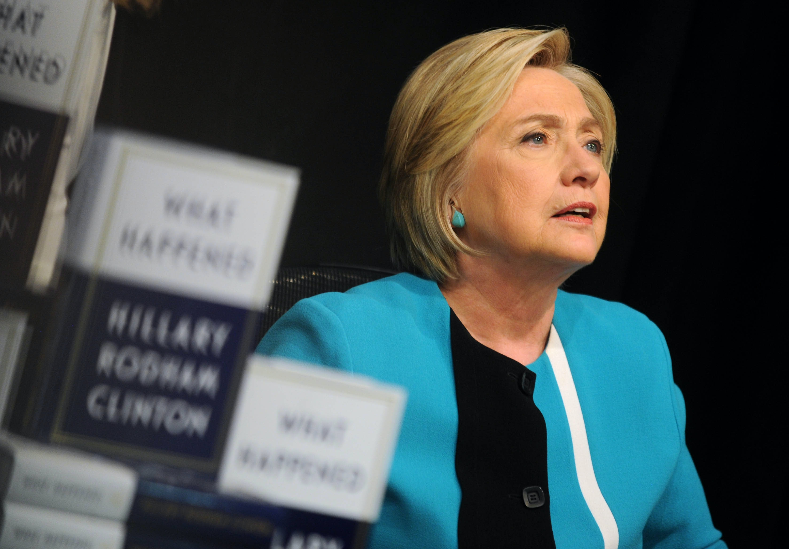 "Photo by: Dennis Van Tine/starmaxinc.com STAR MAX ©2017 ALL RIGHTS RESERVED Telephone/Fax: (212) 995-1196 9/12/17 Hillary Clinton signs copies of her new book ""What Happened"" at Barnes and Noble Union Square in New York City."