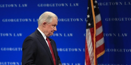 Attorney General Jeff Sessions walks on stage to speak about free speech at the Georgetown University Law Center in Washington, Tuesday, Sept. 26, 2017. (AP Photo/Manuel Balce Ceneta