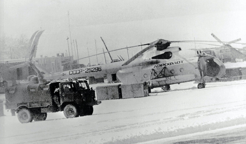 Soviet Aeroflot helicopters at Kabul airport on 16 January 1980. News reports Soviet reinforcements into embattled Afghanistan are being stepped up.(FILM) AFP PHOTO (Photo credit should read HANS PAUL/AFP/Getty Images)