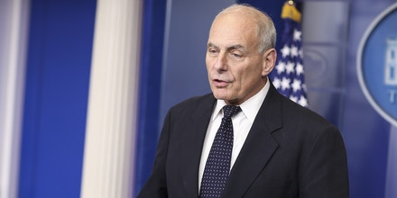 White House Chief of Staff John Kelly speaks to the media during the daily briefing in the Brady Press Briefing Room of the White House on October 19, 2017 in Washington, D.C. (Photo by Oliver Contreras)(Sipa via AP Images)