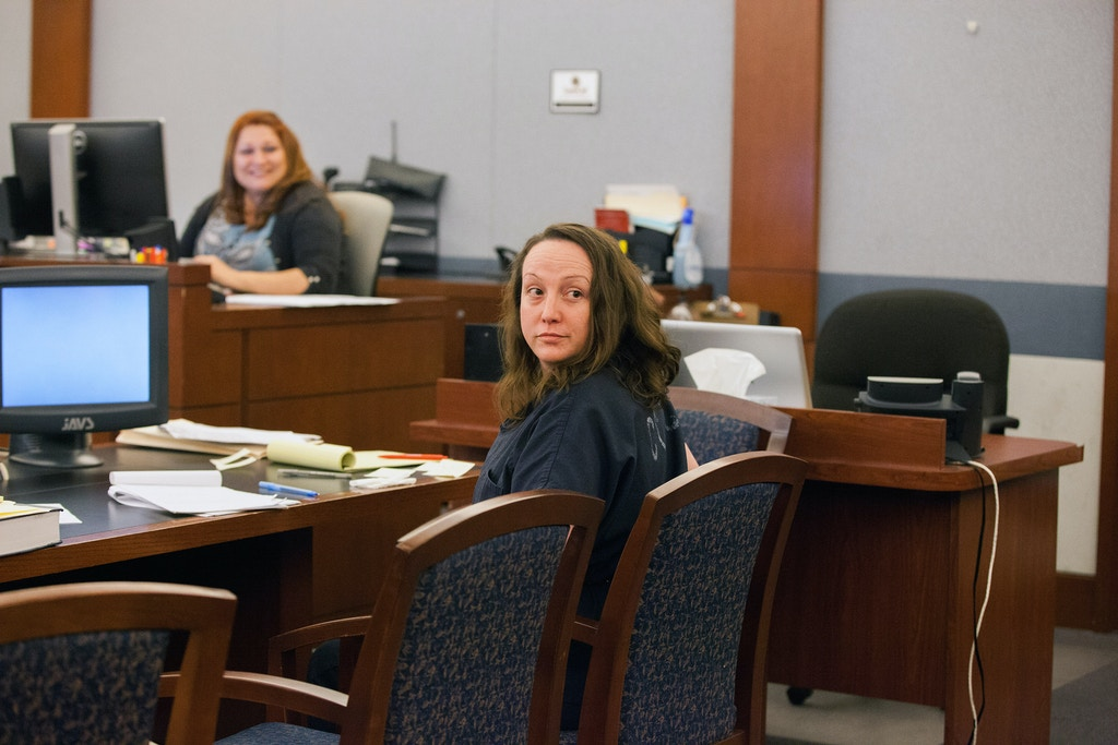 Kirstin Blaise Lobato, who was convicted of a July 2001 murder of Duran Bailey, at the Clark County Courthouse for her new hearing on the case on Oct. 12, 2017
