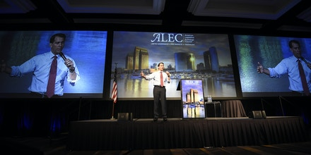 Republican presidential candidate Wisconsin Gov. Scott Walker speaks at the American Legislative Exchange Council 42nd annual meeting held Thursday, July 23, 2015, in San Diego.  (AP Photo/Denis Poroy)