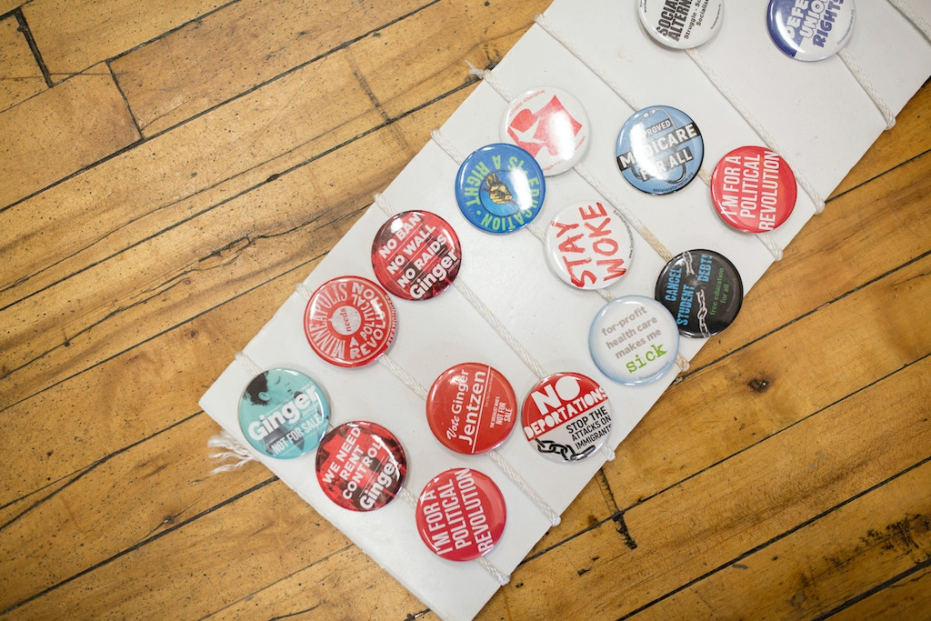 Buttons in the campaign headquarters on October 20, 2017 in Minneapolis, Minnesota. Jentzen, former director of 15 Now, a successful campaign to raise the minimum wage to $15/hour in Minneapolis, is running for Minneapolis City Council Ward 3 as a member of Socialist Alternative. Photo by Jenn Ackerman@ackermangruber