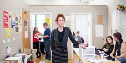 A portrait of Ginger Jentzen in the campaign headquarters on October 20, 2017 in Minneapolis, Minnesota. Jentzen, former director of 15 Now, a successful campaign to raise the minimum wage to $15/hour in Minneapolis, is running for Minneapolis City Council Ward 3 as a member of Socialist Alternative. Photo by Jenn Ackerman@ackermangruber