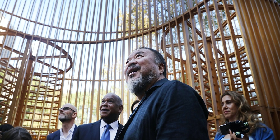 NEW YORK, NY - OCTOBER 10:  Chinese activist and artist Ai Weiwei stands in one of his new art installations in Central Park, part of a series of works entitled