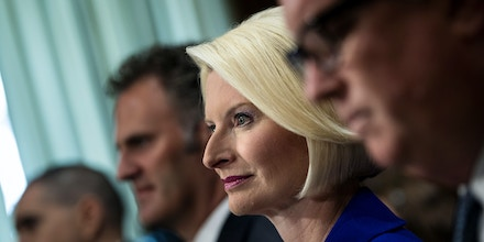 Callista Gingrich, wife of former Republican US Presidential hopeful Newt Gingrich, listens with others during a confirmation hearing for her nomination to be the US Ambassador to the Vatican before the Senate Foreign Relations Committee on Capitol Hill July 18, 2017 in Washington, DC. / AFP PHOTO / Brendan Smialowski        (Photo credit should read BRENDAN SMIALOWSKI/AFP/Getty Images)