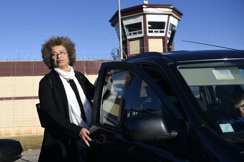 "US political activist Angela Yvonne Davis leaves the ""Centro Penitenciario de Logrono"" prison after her attempt to visit the imprisoned leader of the Basque Patriotic Left movement Arnaldo Otegi on February 7, 2016, in the northern Spanish city of Logrono. Although Angela Davis had received the permission to visit Arnaldo Otegi, the prison of Logrono finally denied it. Arnaldo Otegi is imprisoned since 2009 and will be released on March 1, 2016. AFP PHOTO / ANDER GILLENEA / AFP / ANDER GILLENEA        (Photo credit should read ANDER GILLENEA/AFP/Getty Images)"