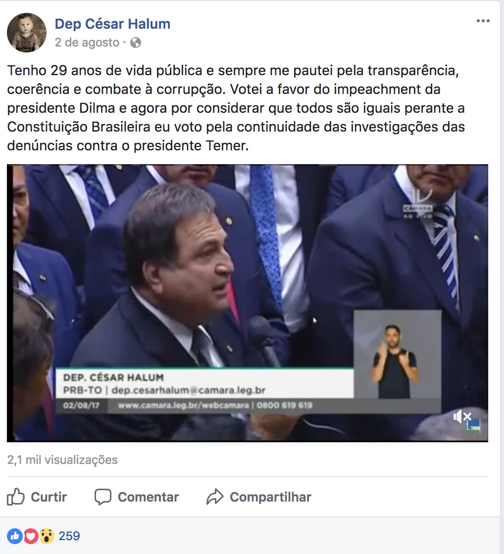 Post do deputado César Halum