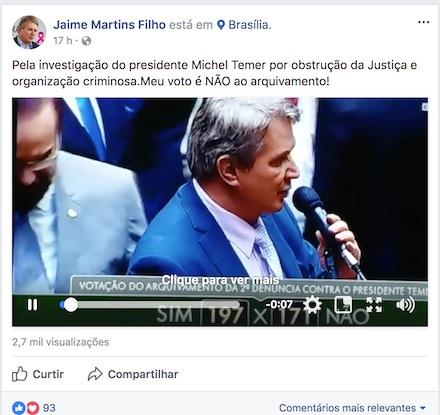 Postagem do deputado Jaime Martins Filho em outubro