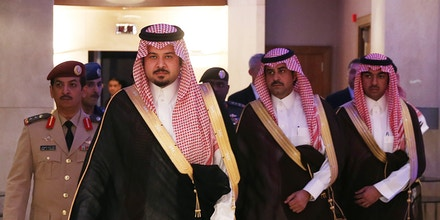 Saudi Arabia Deputy Minister of Defense Prince Salman bin Sultan, left, arrives for a meeting with Secretary of Defense Chuck Hagel at the Radisson Hotel, on Friday, Dec. 6, 2013 in Manama, Bahrain. Secretary Hagel is visiting Bahrain while on a six day trip to the middle east, and is scheduled to speak at the Manama Dialogue Regional Security Summit tomorrow.  (AP Photo/Mark Wilson, Pool)