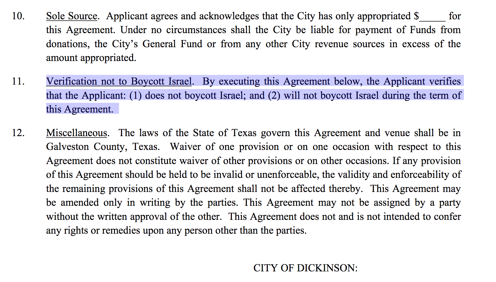 City of Dickinson defends Harvey relief requirement regarding Israel