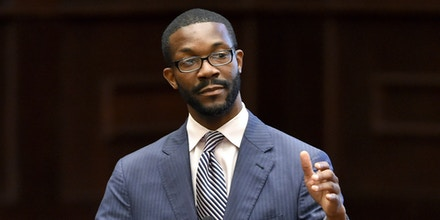 Birmingham mayoral candidate Randall Woodfin speaks during a meeting of the Downtown Democrats at the Harbert Center in Birmingham, Ala., Friday, Sept. 8, 2017.  (Photo by Mark Almond)