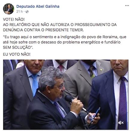 Postagem do deputado Abel Galinha após votação de denúncia contra Temer