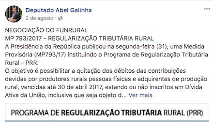 Postagem do deputado Abel Galinha em agosto