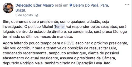 Post de Éder Mauro em agosto