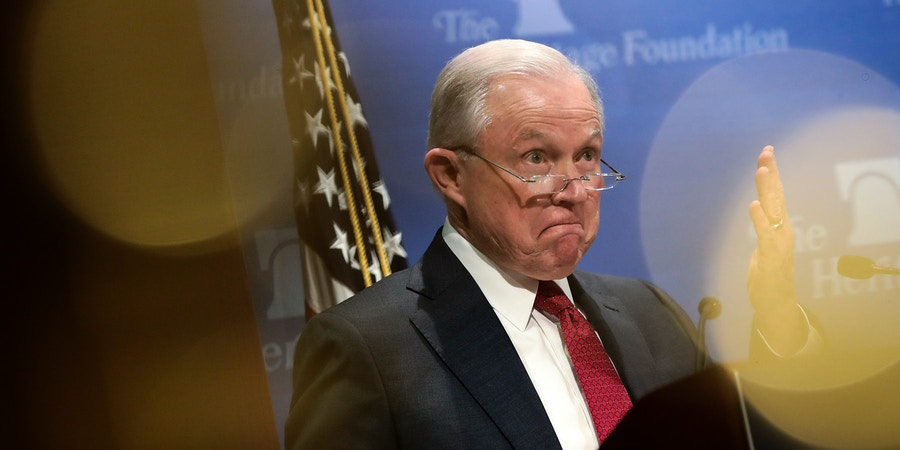 WASHINGTON, DC - OCTOBER 26: U.S. Attorney General Jeff Sessions speaks at the Heritage Foundation's Legal Strategy Forum, October 26, 2017 in Washington, DC. His remarks focused on Constitutional principals and the rule of law. (Photo by Drew Angerer/Getty Images)